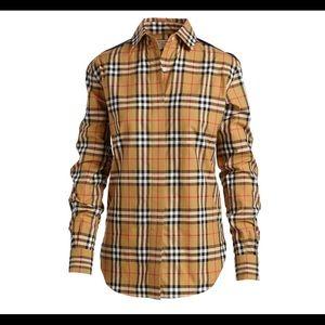 Burberry Saoirse Side-Stripe Check Shirt
